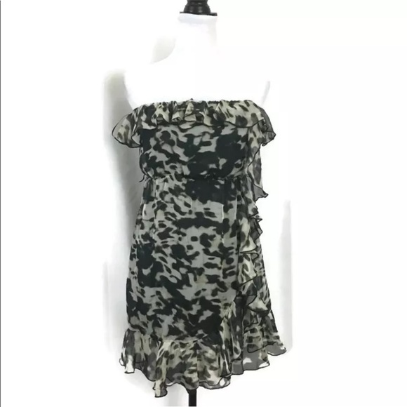 816f6b8a55503 H&M Dresses | Hm Strapless Ruffled Mini Dress Animal Print 6 | Poshmark
